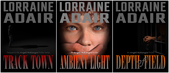 Comparison of covers in the Angel McKenzie Thriller series.