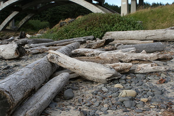 Beverly Beach, facing Spencer Creek and Highway 101. Look at all those logs!