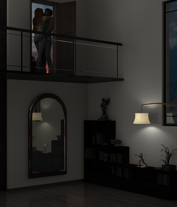 Render/Photo Hybrid: Couple kiss goodnight in the open doorway