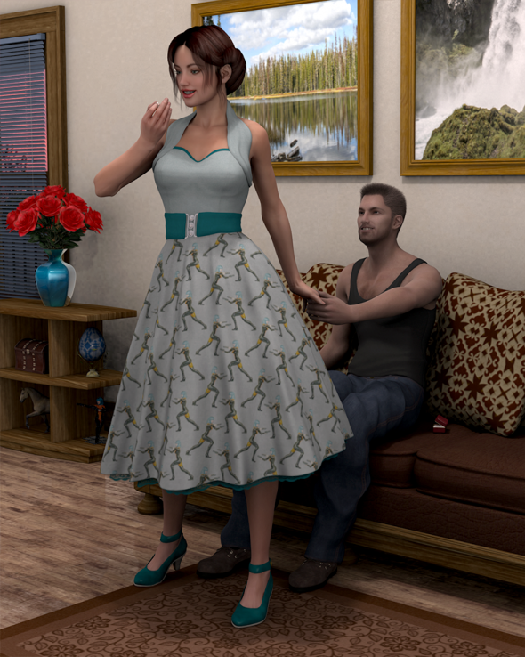 Render/Photo Hybrid: The happy girl gazes at her engagement ring