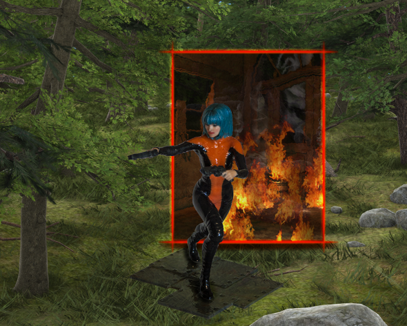 Render/Photo Hybrid: Through a gateway in thin air, Victoria enters a forest as she flees an inferno