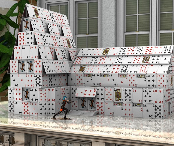 Render/Photo Hybrid: Large house of cards and the Victoria 3D Print