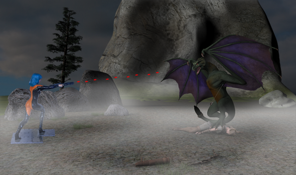 Render/Photo Hybrid: The Wyvern, with his prey, faces off against Victoria