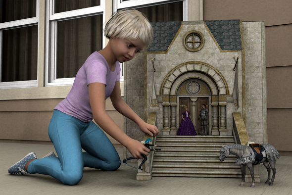 Render/Photo Hybrid: A young girl introduces Vicki to her Olde England playset