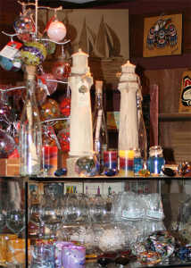 Glass Shelves With Two Driftwood Lighthouses