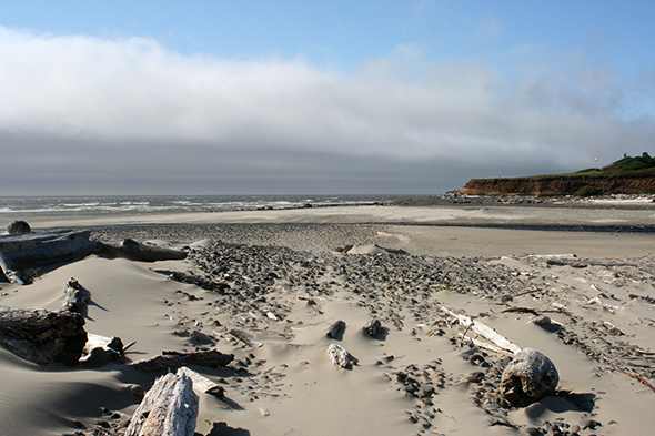 "This beach is actually named ""Stonefield."" The fog bank rolling in dissipated further north later in the day."